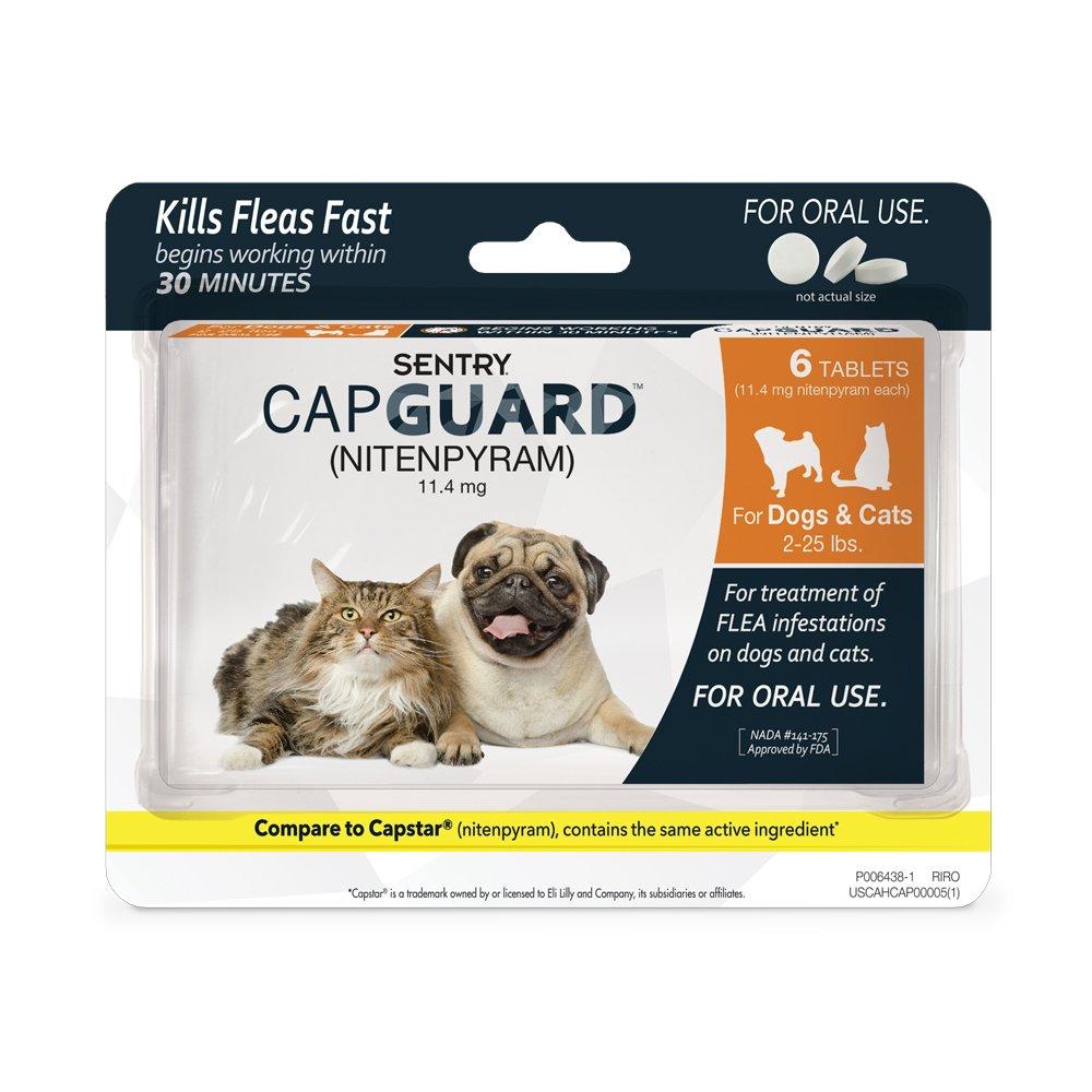SENTRY Capguard (nitenpyram) Oral Flea Control Medication, 2-25 lbs, 6 count by SENTRY Pet Care