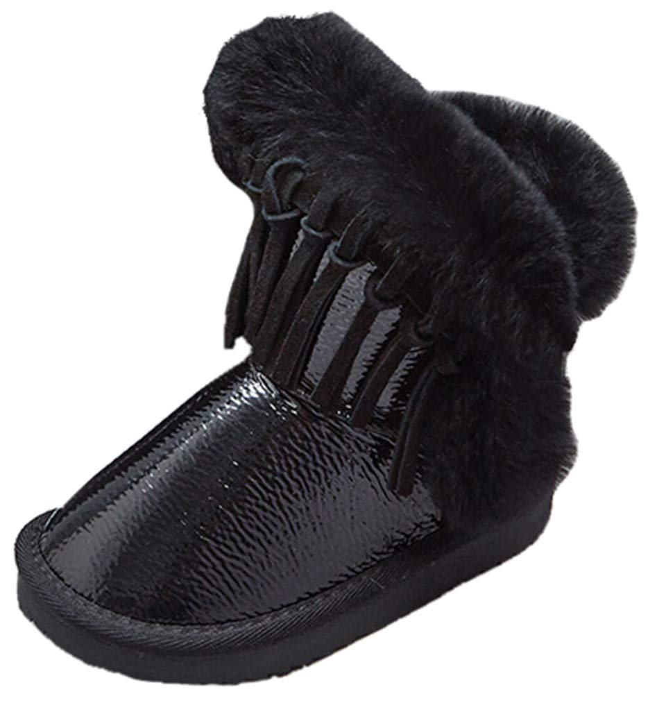 VECJUNIA Girl's Thicken Fluffy Ankle High Snow Boots with Fringes (Black, 3 M US Little Kid)