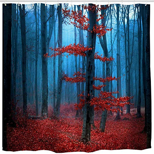 (Mystical Red Blue Tree Forest Shower Curtain,Country Farmhouse Fall Woodland Foggy Nature Scene Modern Bath Curtain Art Print,Polyester Waterproof Fabric Bathroom Decor Set with Hooks,72x72 inch,Blue)