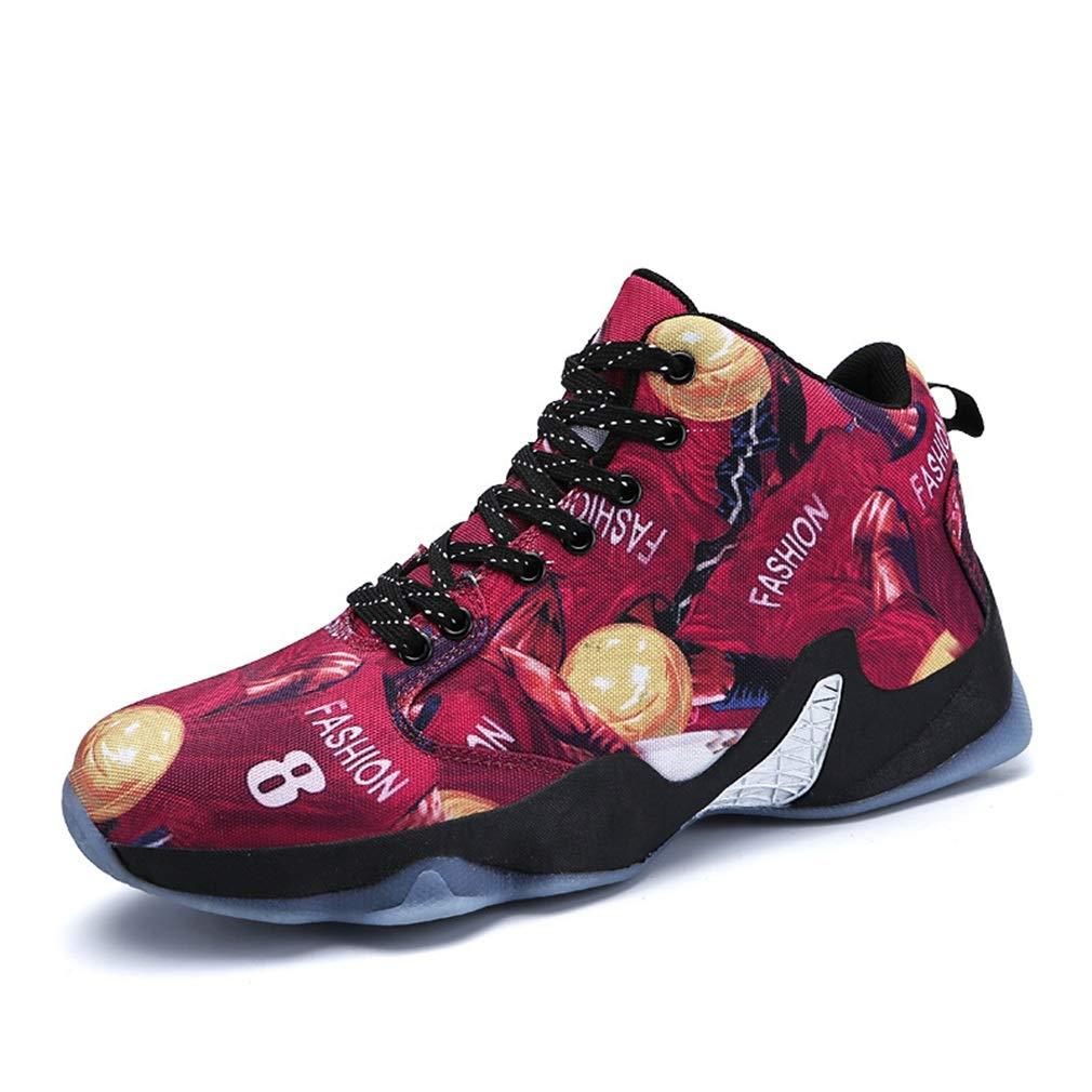 YAN Herren Turnschuhe Outdoor Laufschuhe Sports Lace up Rutschfeste Basketballschuhe Fitness & Cross Trainingsschuhe Schwarz/Rot / Gelb (Farbe : Rot, Größe : 44)