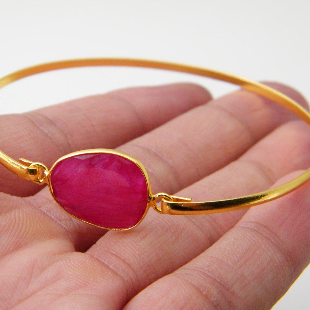 Pink Ruby Beryl Bracelet Bronze Bracelet AH-8141 Gold Tone Jewelry Gemstone Bracelet Jewelry