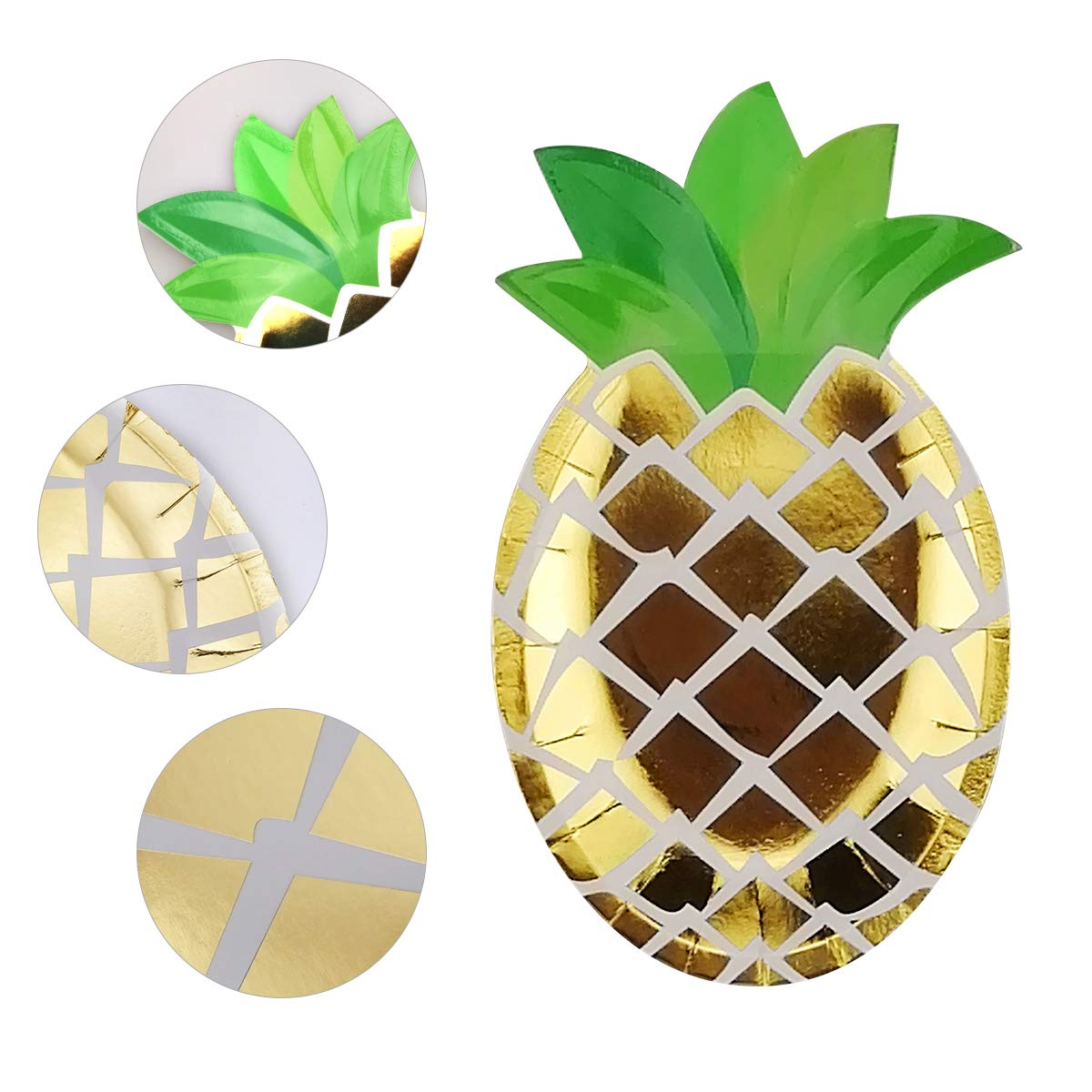 24 Count Pineapple Plates Disposable Party Paper Plates Disposable Tableware Set for Baby Shower Wedding Hawaiian Party Birthday Party Luau BBQ Party Supplies