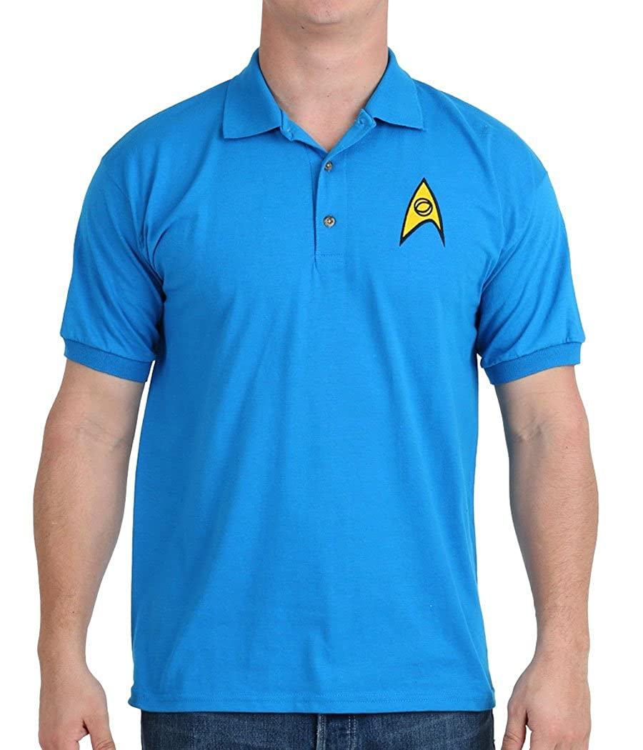 Star Trek Starfleet Science Uniform Polo Shirt Blue Star