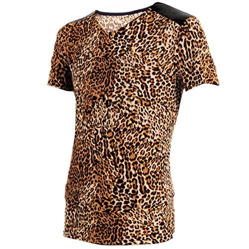 ad5eb104c831 Allegra K Men Leopard Stretch Pullover Design Fut Tee Brown - Import ...