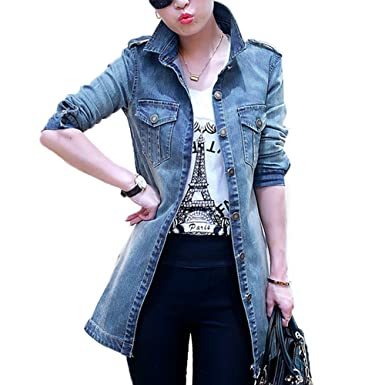 6dd4d4f078a LISASTOR Women Slim Lapel Long Sleeve Double Pocket Blue Jean Denim Jacket  Shirt Boyfriend Coat Outwear