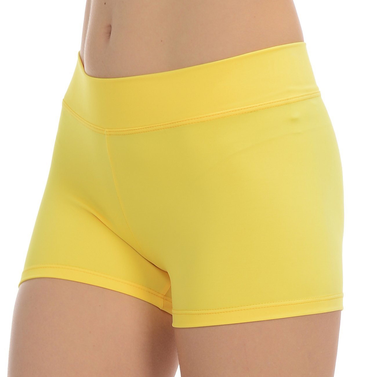 ANZA Girls Active Wear Dance Booty Shorts-Yellow,Large(12/14) by Anza Collection