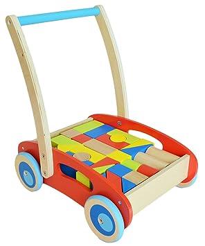 Tooky Toy TKC 281 - Carrito andador infantil con 32 bloques de madera