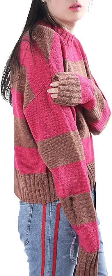 RedBrowm.Womens Casual Sweatshirt Drop Shoulder Striped Crop Pullover Top Blouse