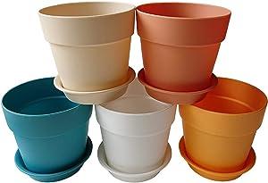 Axe Sickle 3.9 Inch Colorful Plastic Planter, Indoor Flower Pot, Mini Plastic Flower Seedling Nursery Pot, Garden Plant Pot Home Decoration, Flower Pot with Pallet 5 Pcs.