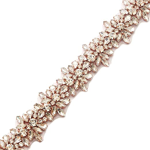 yanstar Handmade Rose Gold Rhinestone Applique Trim by The Yard with Iron-On  Back for 14badf947c69