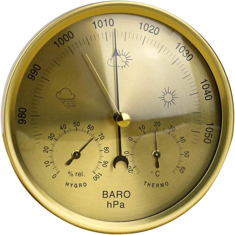 Barómetro 3 en 1 indicador de vidrio resistente a la intemperie termómetro higrómetro multifuncional de alta precisión para colgar medición de temperatura estación de clima montado en la pared, dorado
