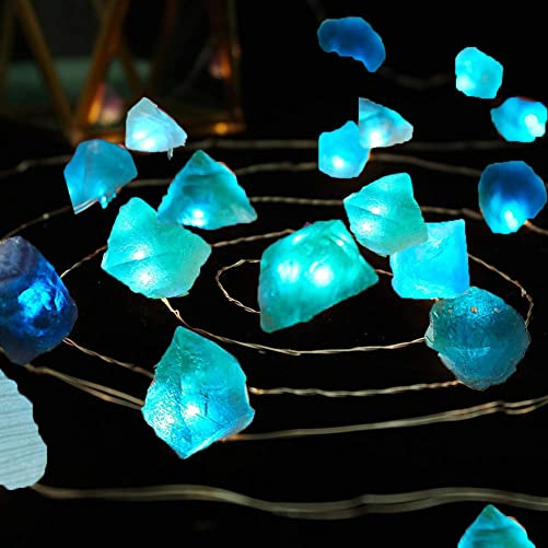 FLCSIed Natural Fluorite Sea Glass Ore Raw Crystal Stones LED String Lights 6.5ft 20 Lights with 11 Modes Remote for Indoor Outdoor Tent Wedding Anniversary Birthday Decor Present Bedroom