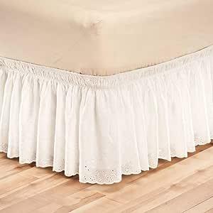 QUNCUNG Encaje Falda de Cama,Volantes elástica Falda de Cama Bedding Ruffled Bedskirt Medidas canapé Cubre unda de somier Faldón de Volantes con ...