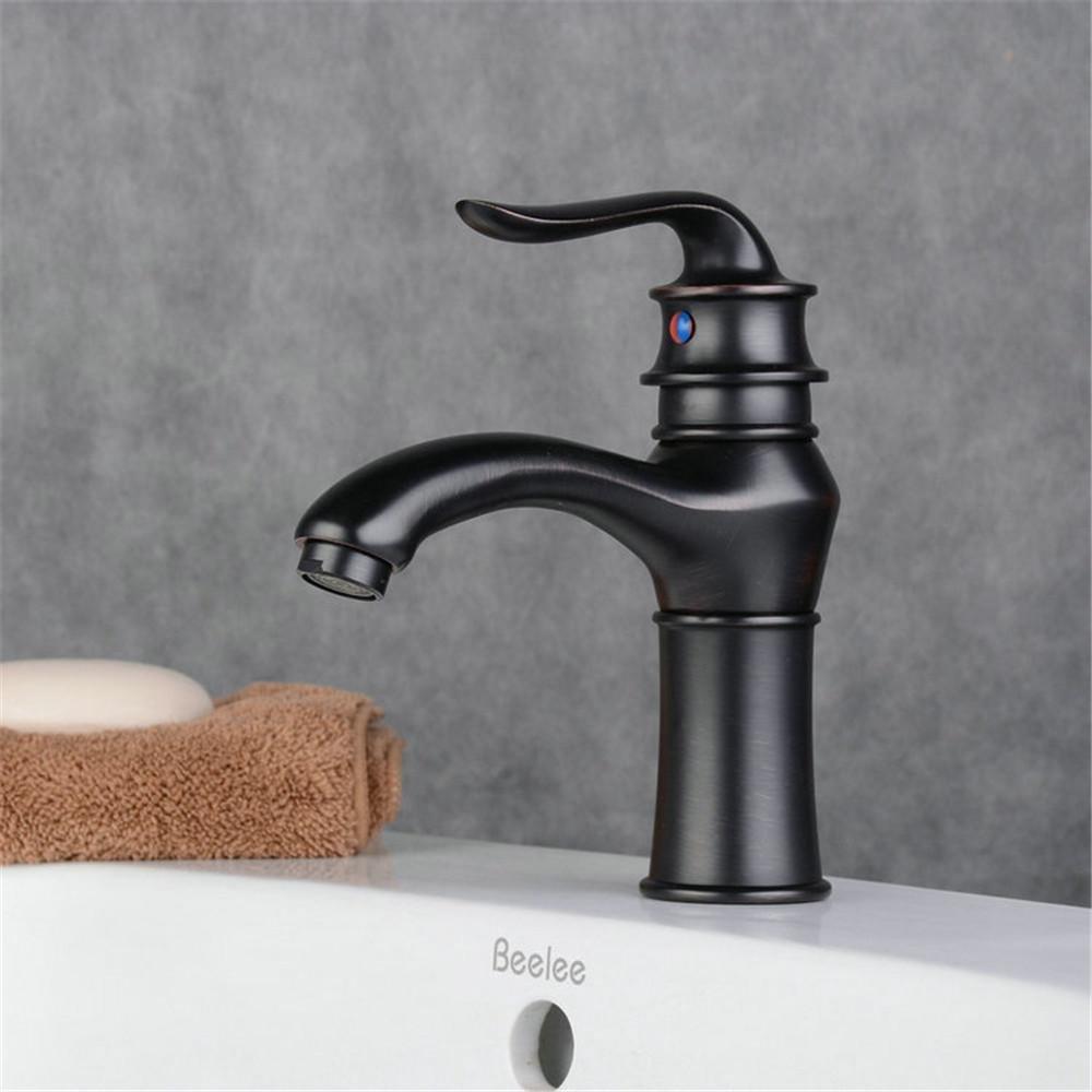 NSSBZZ Perfekt Haltbar Wasserhahn Europäischen Stil Vintage Kupfer Schwarz und Bronze Großen Fällt Warmes und Kaltes Wasser Waschen Waschbecken Wasserhahn