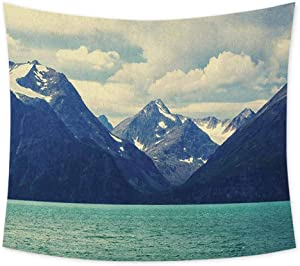 jecycleus Mountain Boho Tapestry Wall Hanging Northern Norway Atlantic Coastline Fishing Harbor Snowy Nature Colorful Tapestry Hippie Decor W70 x L70 Inch Dark Blue Almond Green White