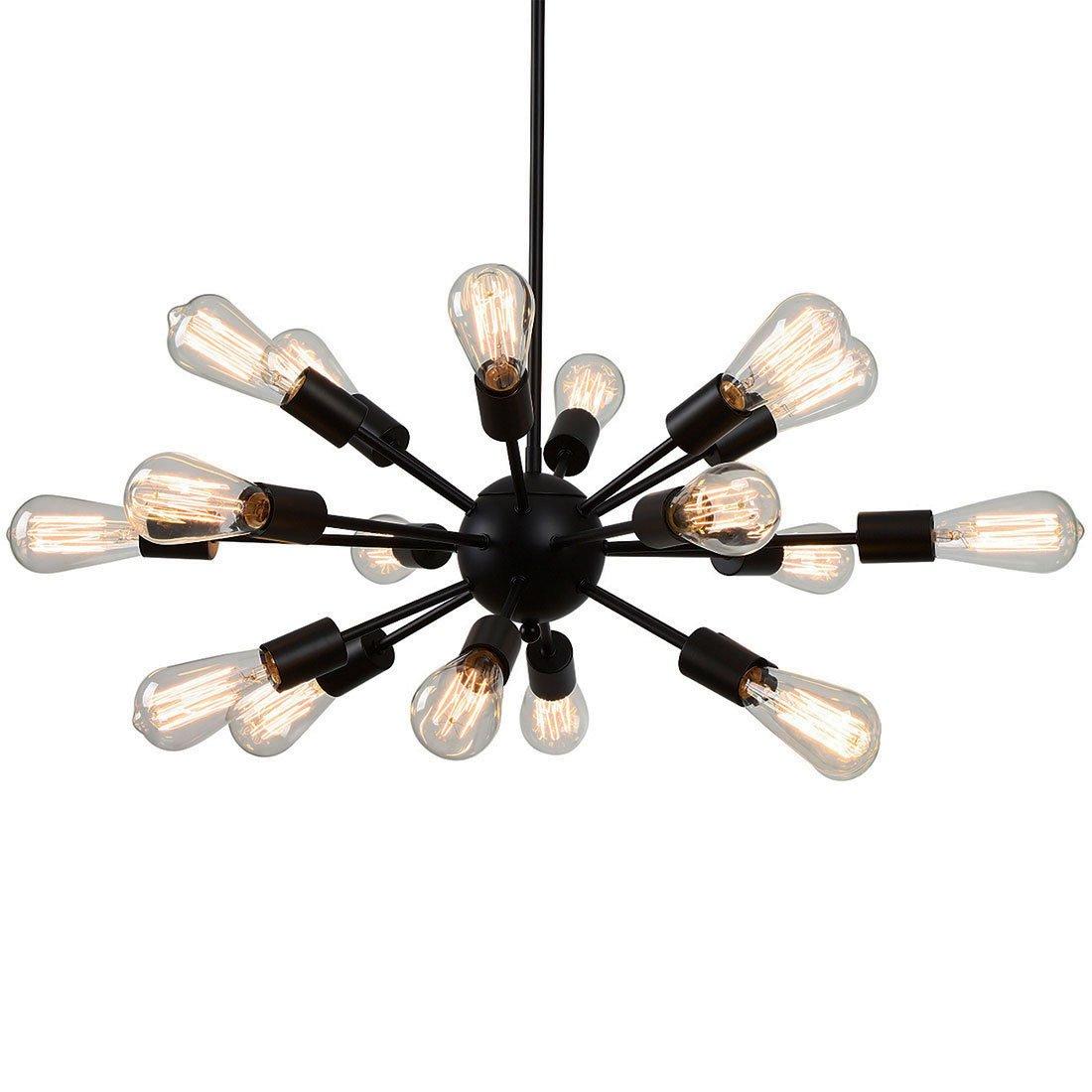 AncientHome 18-Light Industrial Vintage Metal Sputnik Chandelier Lighting Fixture Hanging for Dining Room, Kitchen, Black