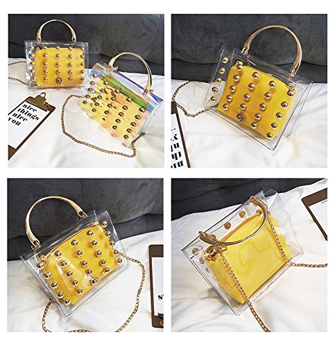 Wallets Set Bags Totes Bags body clear Handbags Clear Bags Laser Shoulder Messenger Cross yellow Women's 0x47q4