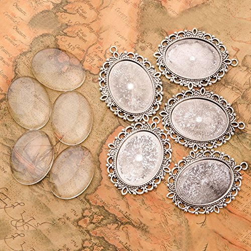 Pandahall 5 Sets 40x30mm Oval Clear Glass Cabochon Cover and 61x48mm Antique Silver Tibetan Style Pendant Cabochon Settings for (Oval Cabochon)