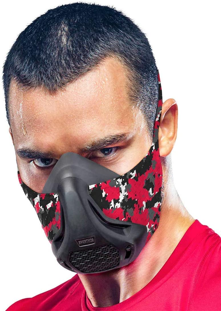 Sparthos Training Mask High Altitude Mask – for Gym Workouts, Running, Cycling, Elevation, Cardio - Fitness Training Mask - Hypoxic Resistance Mask 2 3 – Lung Exercise [Red Camo + Case] : Sports & Outdoors