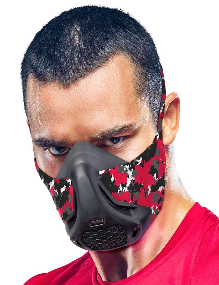Sparthos Training Mask High Altitude Mask – for Gym Workouts, Running, Cycling, Cardio, Elevation - Fitness Training Mask - Hypoxic Resistance Mask 2 3 – Lung Exercise [M] [+Case]