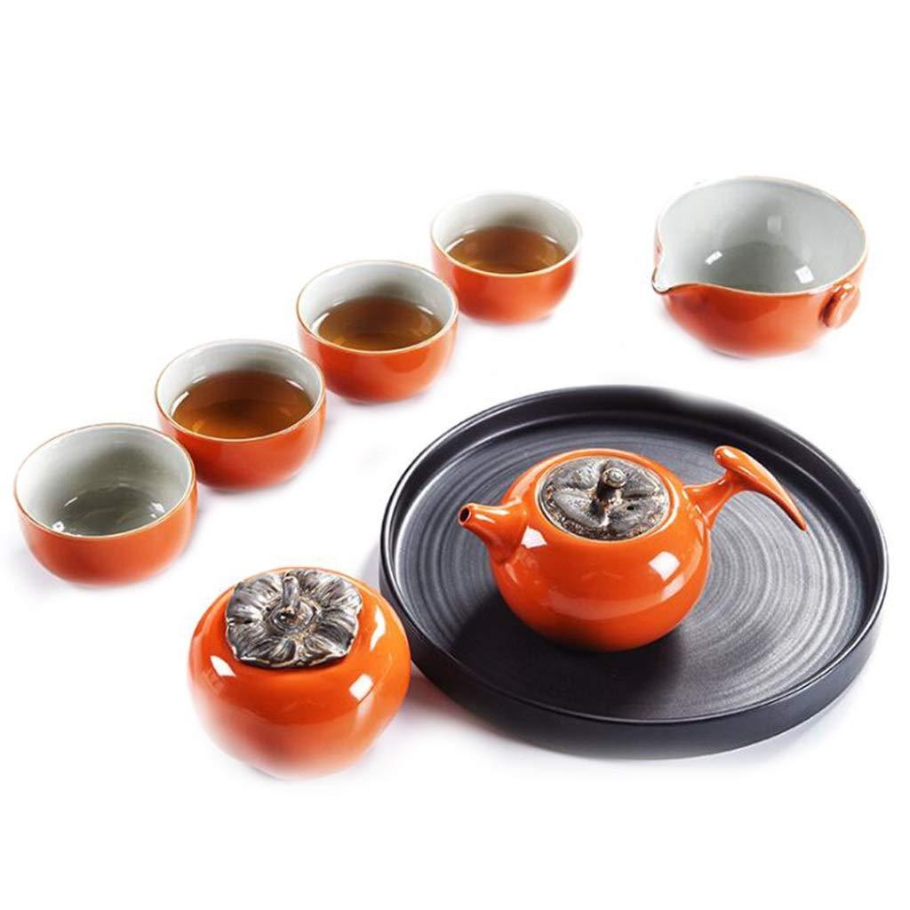 カンフーティーセット、柿スタイルのお茶セット、ティートレイ付き、ティーハウス/リビングルーム/オフィス   B07NQ4GWRQ