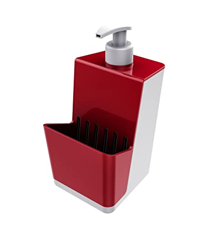 Smart Soap Dispenser Pump With Sponge Organizer. Plastic. Kitchen  Countertops. (Red)