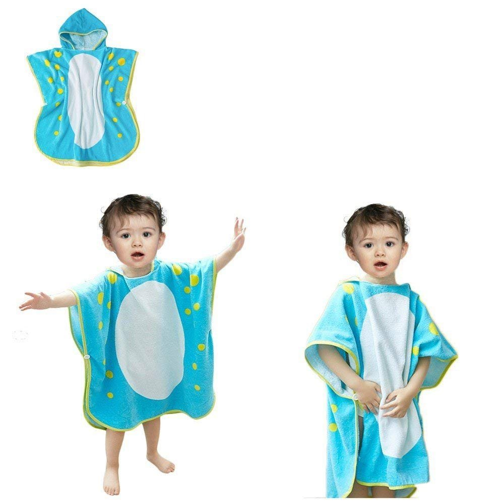 yaode Children's Beach Towels Breathable Warm Child Cartoon Bathrobes Polygonal Dinosaur Hooded Towel Bath Towels (Blue70X140cm)