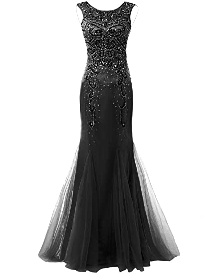Solovedress Womens Scoop Neck Beaded Prom Dress Long Evening Dress with Crystal Gown (Black,