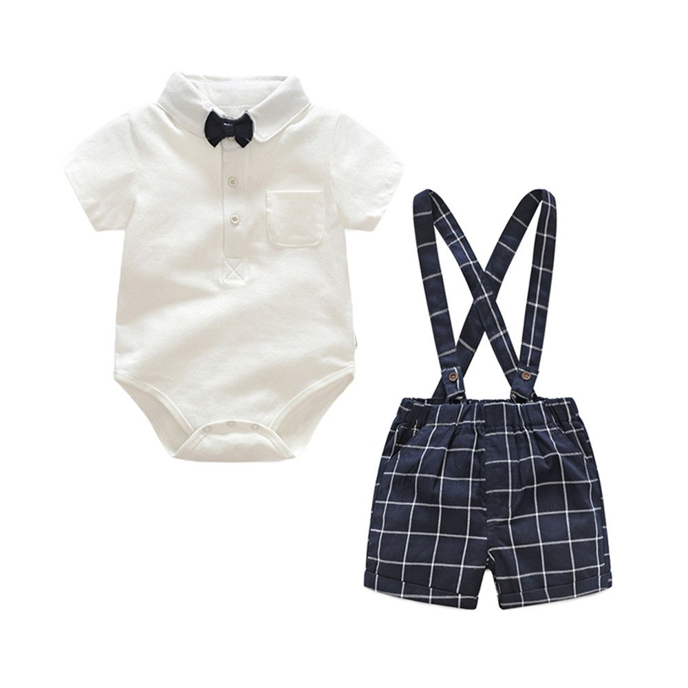 Baby Boys Short Sleeve Bowtie Rompers + Plaid Suspender Shorts Sets 2 Piece Outfits
