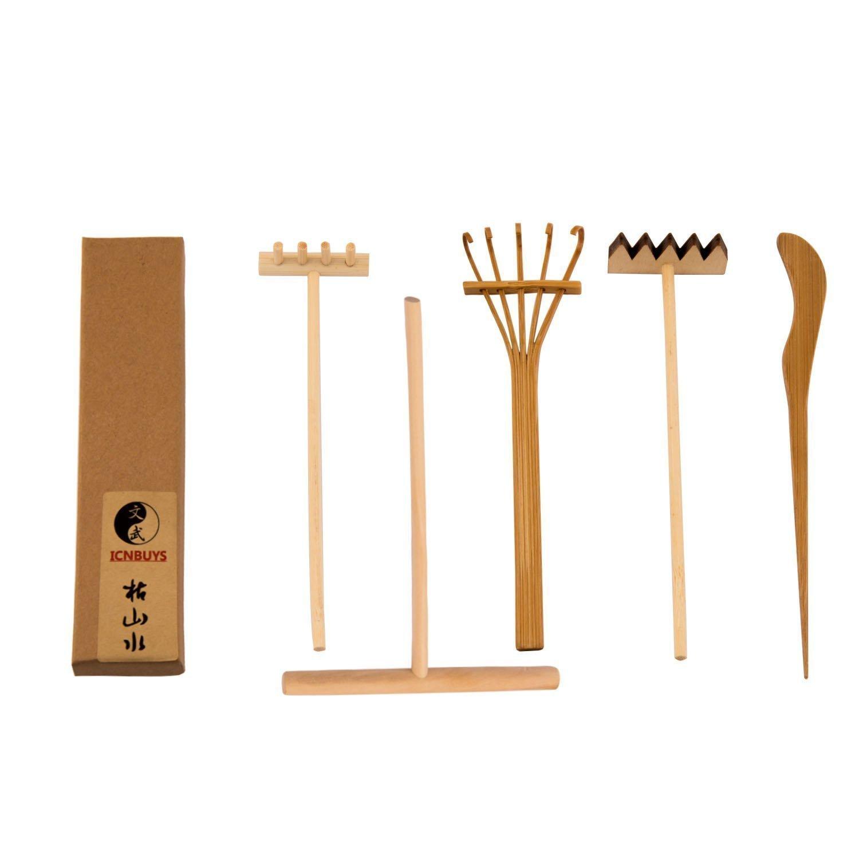 ICNBUYS Professional Mini Zen Garden Tools Set three rakes One Bamboo Drawing Pen One Pushing Sand Pen MZenGToolSet01UK