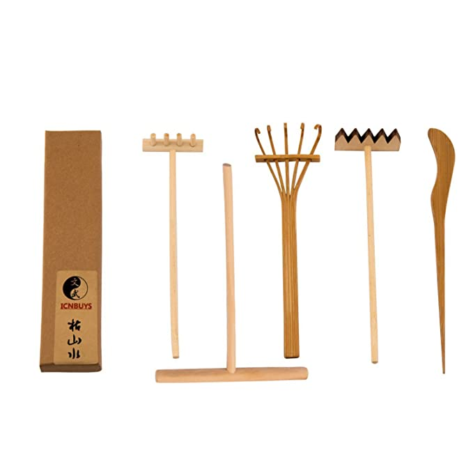 icnbuys profesional mini Zen Jardín Herramientas Set tres rastrillos un dibujo bambú un empujar arena Pen