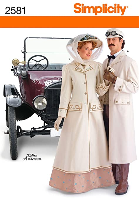 Steampunk Sewing Patterns- Dresses, Coats, Plus Sizes, Men's Patterns 2581 Misses and Men Costumes A (8 -18 / XS -XL) Simplicity Sewing Pattern $29.95 AT vintagedancer.com