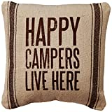 camper cathy - Primitives by Kathy Happy Campers 3-Stripes Pillow, 10-Inch by 10-Inch, Brown