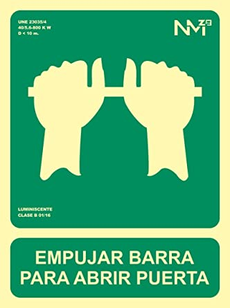 Señal Luminiscente RD14105 Empujar Barra Para Abrir Puerta ...