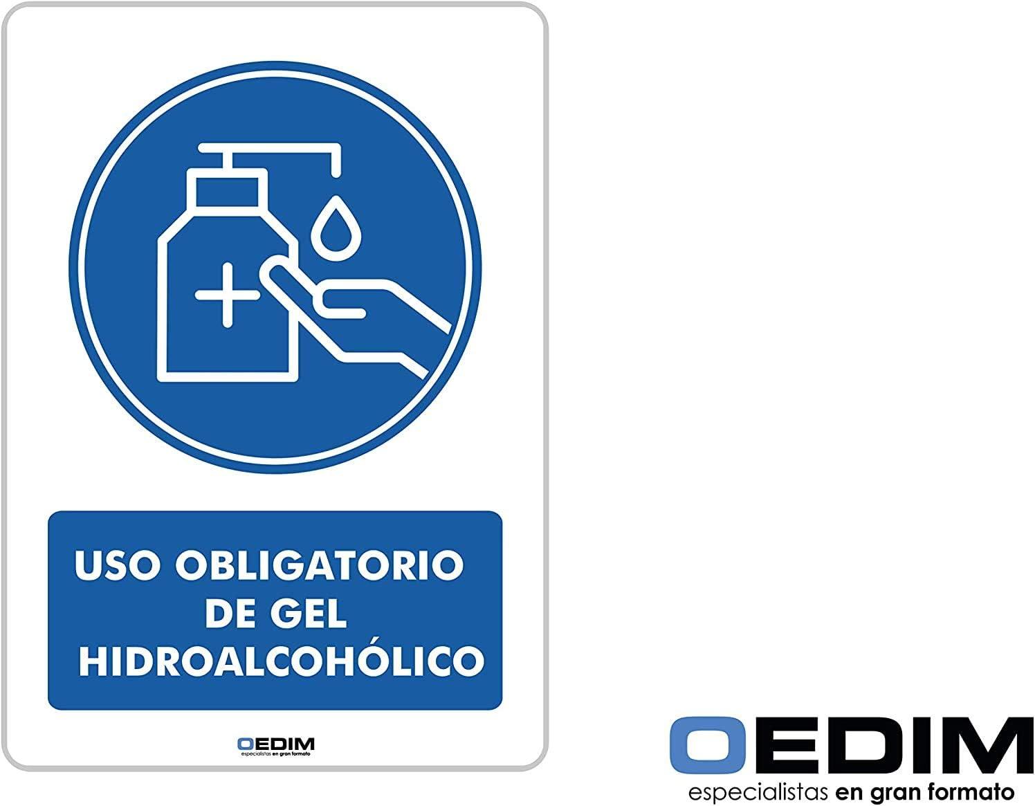 Medida 14,85x21cm Pack 5 Se/ñales de Uso Obligatorio Gel Hidroalcoh/ólico Duradera y Econ/ómica Se/ñaletica en Material Aluminio Blanco Resistente de 3mm