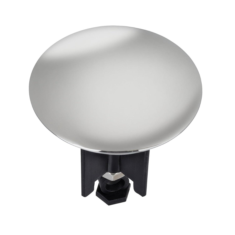 Wenko 21023100 Tappo di lavabo Pluggy XL cromo - per tutti gli scarichi commerciali, Materiale plastico, 6.2 x 6.6 x 6.2 cm