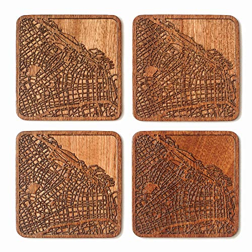 Buenos Aires Map Coaster, Set of 4, Sapele Wooden Coaster with city map, Multiple city optional, Handmade (Best Of Buenos Aires)