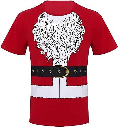 iiniim Camiseta de Navidad Fiesta para Hombre Chico Uniforme Traje de Papá Noel Blusa Top Impresión Regalo para Navidad Camisa Manga Corta T-Shirts Algodón Rojo: Amazon.es: Ropa y accesorios