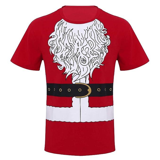 iiniim Camiseta de Navidad Fiesta para Hombre Chico Uniforme Traje de Papá Noel Blusa Top Impresión Regalo para Navidad Camisa Manga Corta T-Shirts Algodón ...