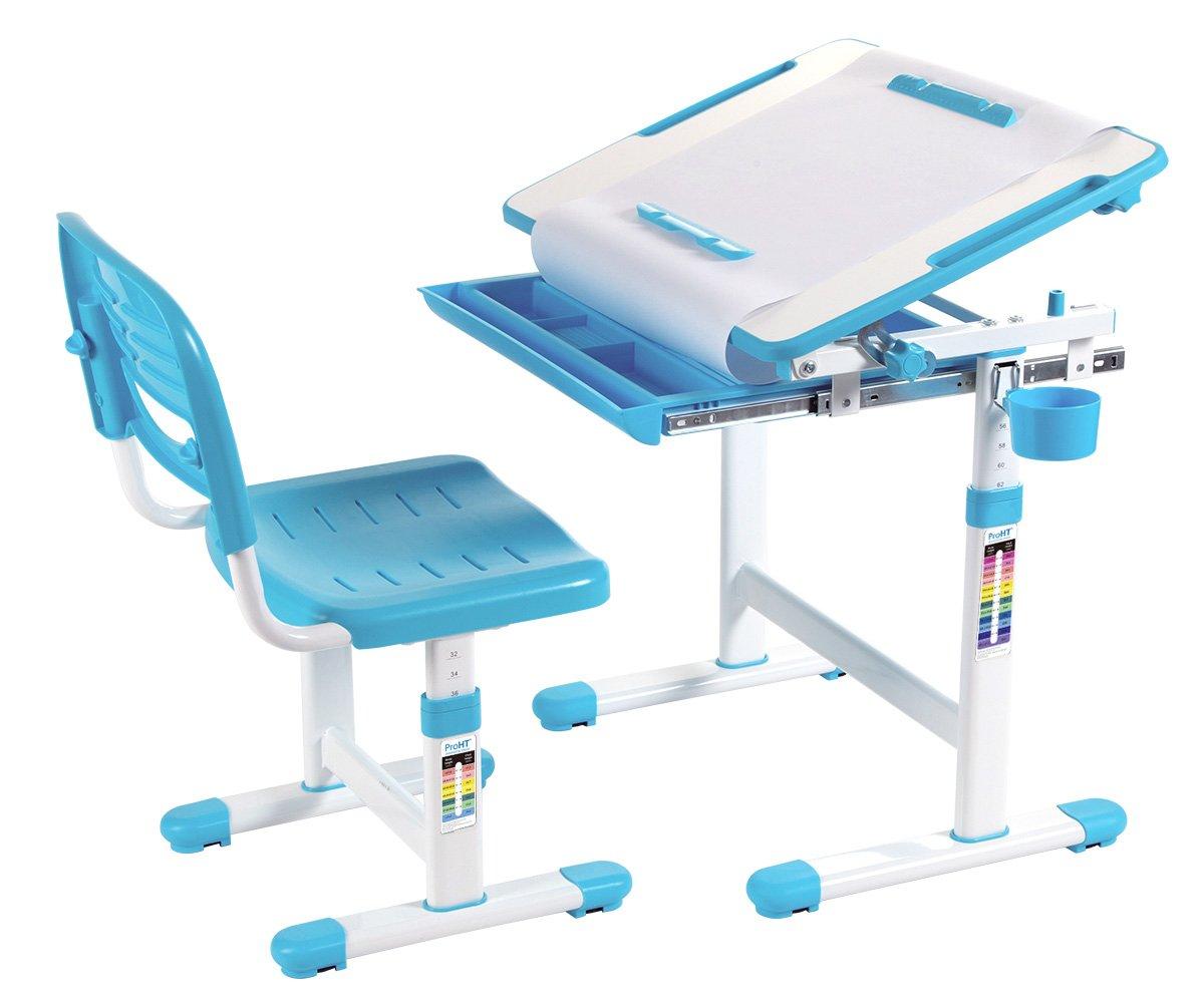 05494A Tilting Desktop /&Paper Roll Holder Kids Interactive Work Station w//Drawer Storage Boys /&Girls-Blue Ergonomic Design for Kids ProHT Height Adjustable Children Desk /& Chair Sets