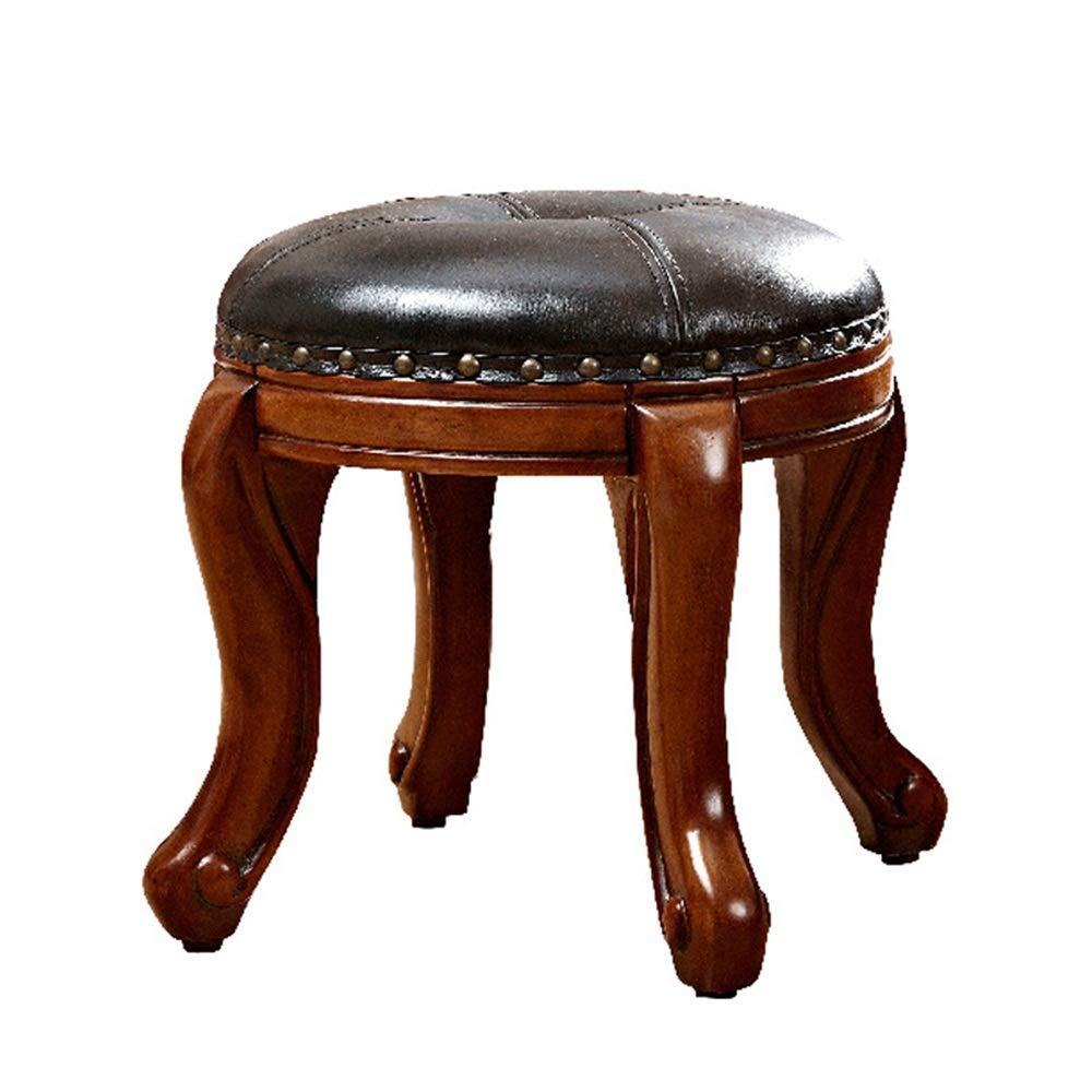 DMMW-Home Schminktisch Stuhl Vanity Hocker mit Gummi-Holz Bein Runde Padded Dressing Make-up-Stuhl Klavier Sitzstuhl Bank im Schlafzimmer Badezimmer Schlafzimmer Frisiertisch Stuhl
