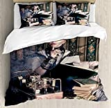 Gothic Duvet Cover Set Portrait of Steampunk Woman with Medieval Vintage Outfit Historic Fashion Art Photo Bedding Set with 2 Pillow Shams Comfortable 4 Pieces Sets Zipper Closure Brown Teal, Twin