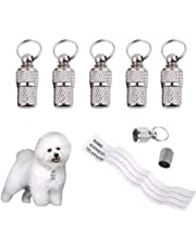 QISF Anti-Lost Pet ID Tag Barrel, 5 Pcs Stainless Steel Pet Dog Cat Puppy ID Address Name Label Personalized Tag Barrel Tube Collar