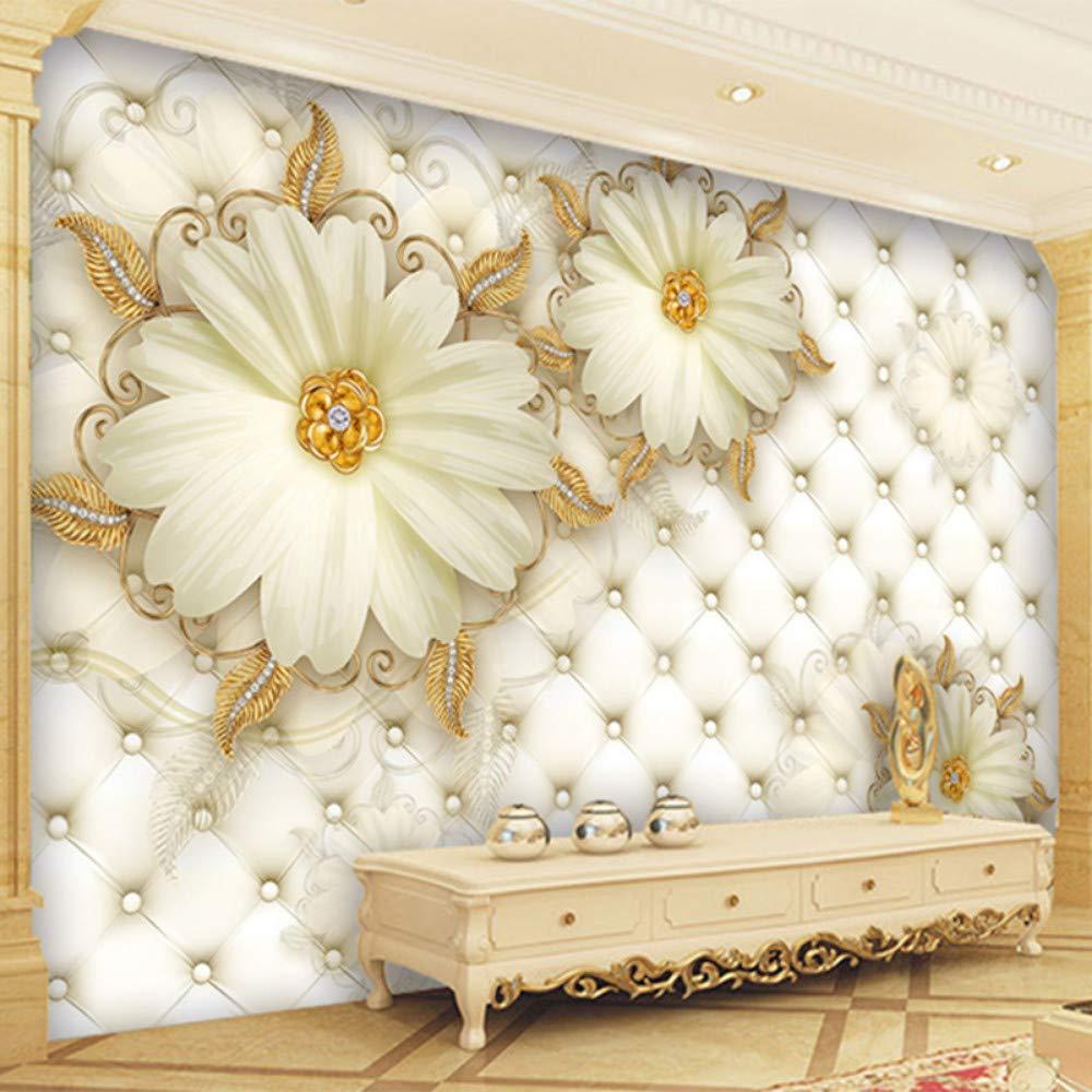 Mddjj Benutzerdefinierte 3D Wandbild Europäischen Stil Luxus Gold Schmuck Blume Soft Pack Fototapete Hotel Wohnzimmer Murales De Pared 3 D-300X210Cm