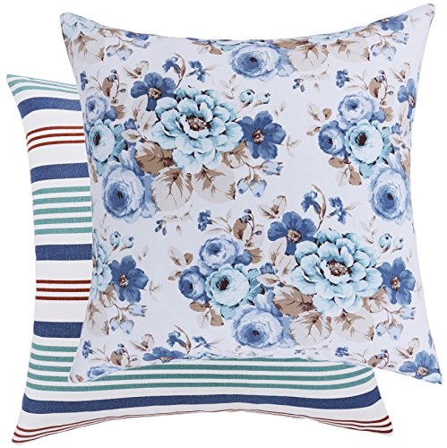 Loom Space Garden Collection Rose and Stripe Cotton Decorative Throw Pillow Cover, 20 x 20-Inch, White/Blue