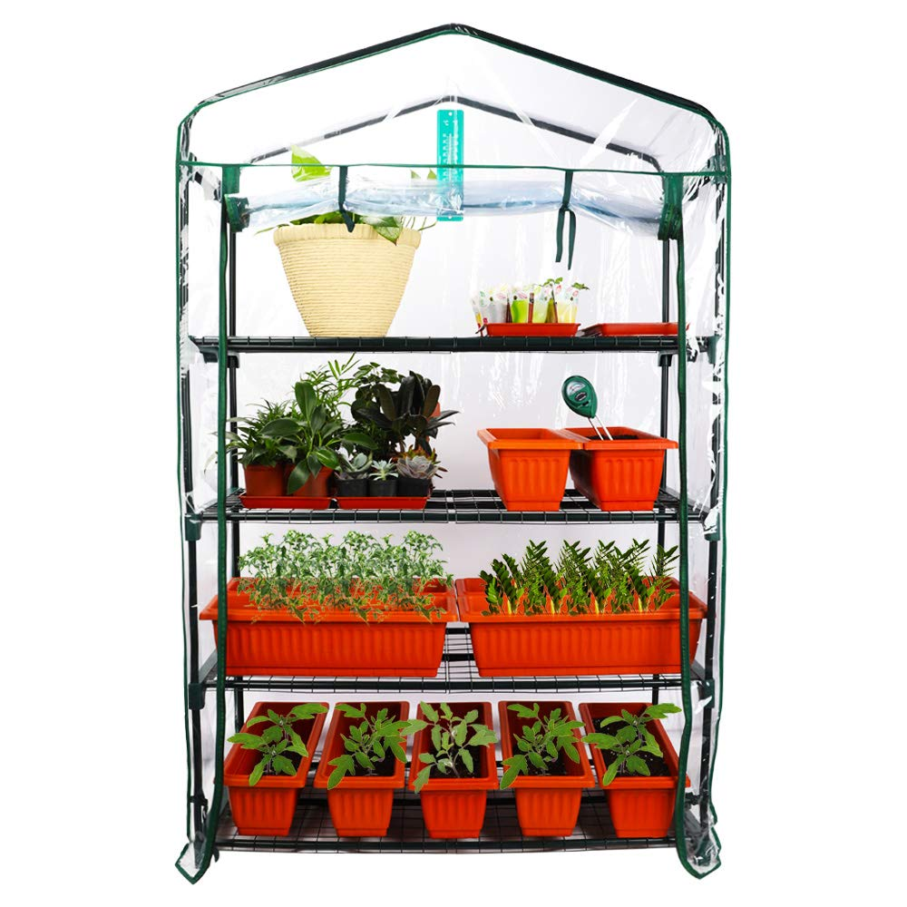 Homes Garden Upgrade Wider 4 Tier Greenhouse 39 in. W x 19 in. D x 63 in. H Portable Indoor Outdoor Mini Greenhouse Clear PVC Cover Zipper Roll Up #G310A00 by Homes Garden