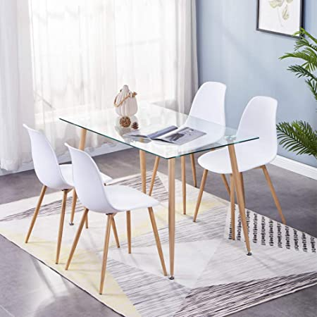 GOLDFAN Tavolo da Pranzo con 4 sedie in Legno Eiffel