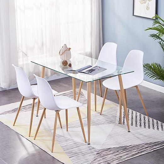 GOLDFAN - Mesa de Comedor y 4 sillas de Madera Eiffel, Rectangular ...