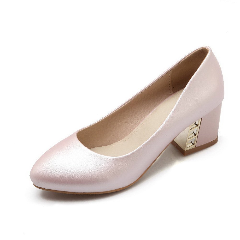 VogueZone009 Women's Pull-on Kitten-Heels PU Solid Pointed Closed Toe Pumps-Shoes, Pink, 40