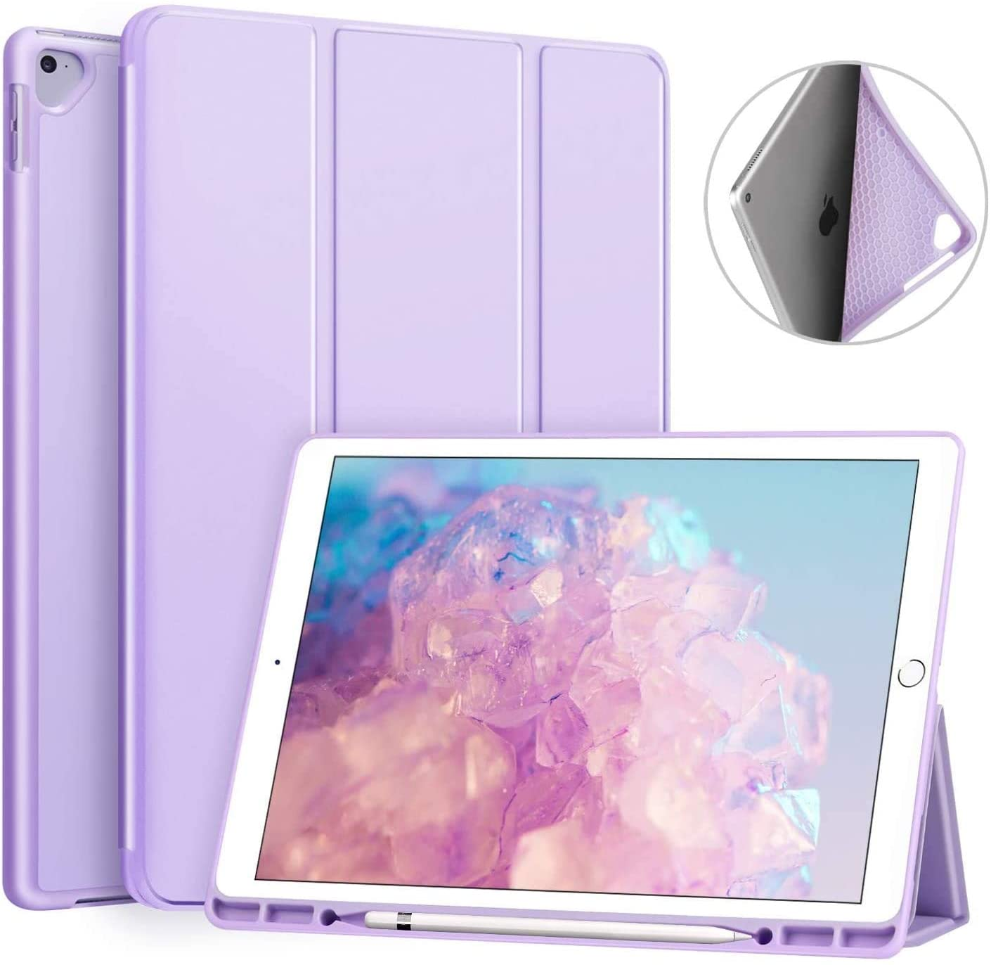 Ztotop Case for iPad Pro 12.9 Inch 2017/2015 with Pencil Holder,Lightweight Soft TPU Back Cover and Trifold Stand with Auto Sleep/Wake for iPad Pro 12.9 Inch(1st & 2nd Generation),Purple